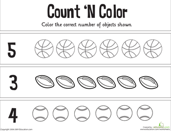 Count N Color The Numbers 1 5 Worksheet Education Com Kindergarten Math Worksheets Free Sports Theme Classroom Sports Activities For Kids