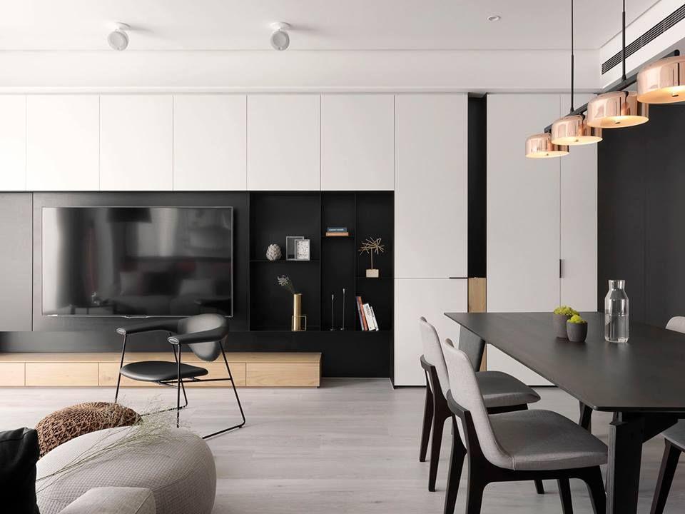 Black and white modernism interior design living room - Interior design living room cabinets ...