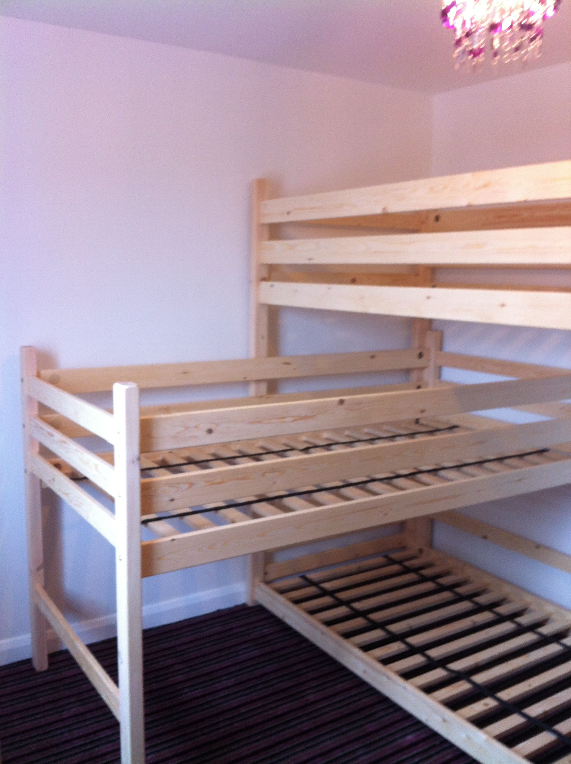 L Shaped Triple Bunk Ready For Its Mattresses 01202 511030 Bunk Beds Small Room Girls Bunk Beds Bunk Beds