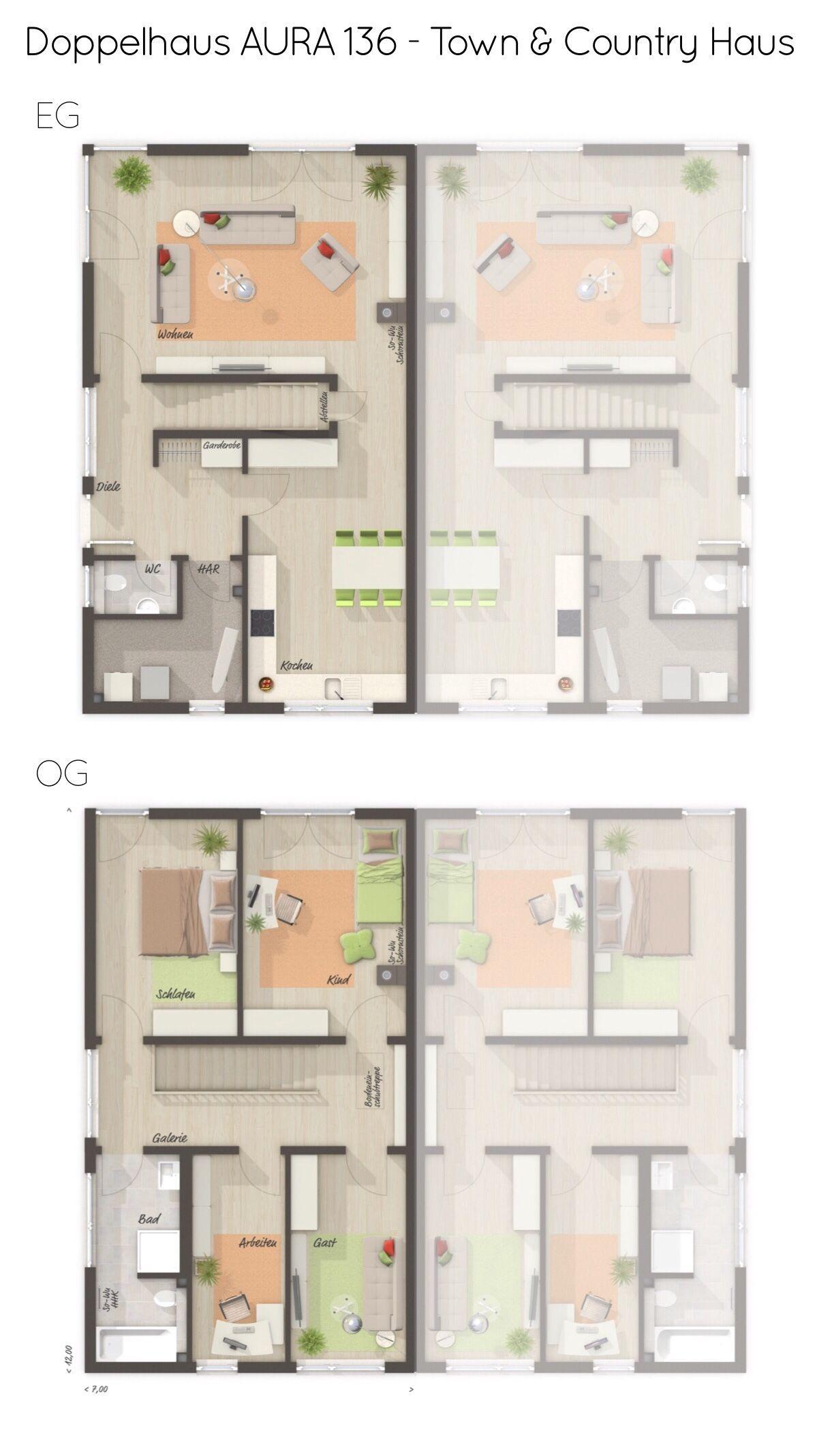 Doppelhaus Grundriss mit Walmdach & gerade Treppe 5