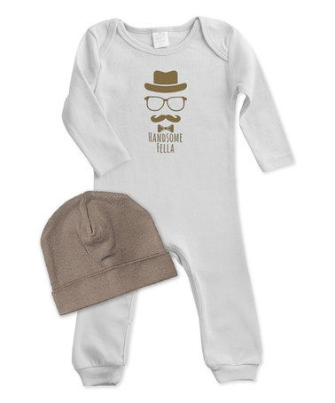 This Gray & Brown 'Handsome Fella' Playsuit & Beanie is perfect! #zulilyfinds