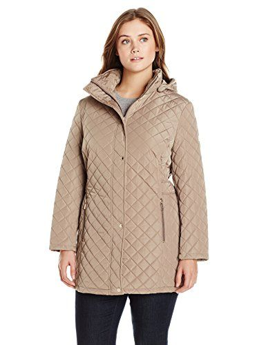 579a4ca04 Calvin Klein Womens PlusSize Classic Quilted Jacket with Side Tabs ...