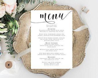 menu card template editable template bridal shower menu wedding menu template menu download birthday dinner rehearsal dinner menu vm31