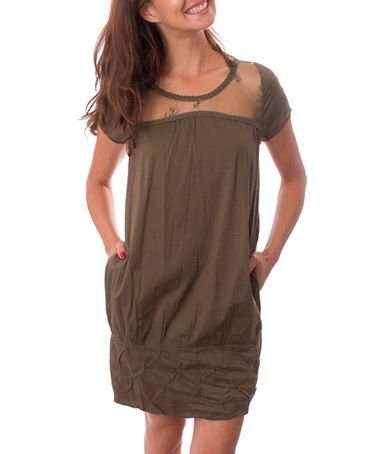 Another great find on #zulily! Brown Sheer Lace Shift Dress #zulilyfinds