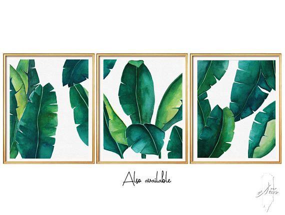 Great 3 Set Art Prints, Wall Art Prints, Digital Download, Leafs SET   6 Files,  Banana Leaf Print , Leaf Printable ,Banana Leaf ,Watercolor Art