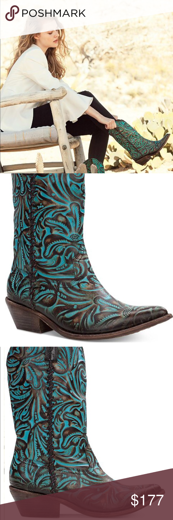 1f8cd408962 🔥HOT BUY🔥 Patricia Nash Cowboy Boots 🤠 Bergamo Turquoise Tooled ...