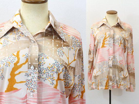 Vintage 70s WhiteBlack POLKA DOT Button down Day Dress 14 M 1970s Kitsch
