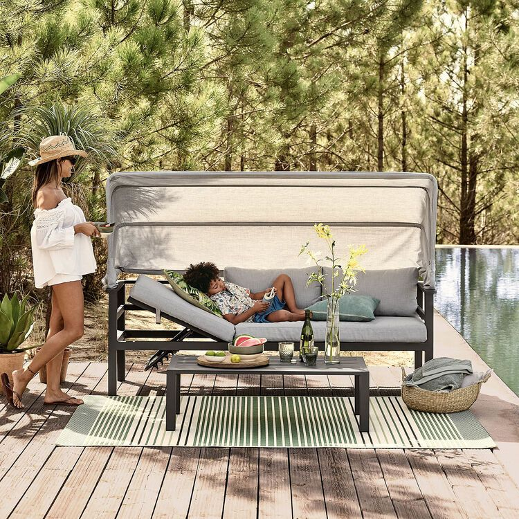 3 Sitzer Sofa Mit Dach Outdoor B 204cm X T 74cm X H 66cm Hellgrau De In 2020 Outdoor 3 Sitzer Sofa Dach