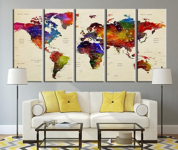 Push pin travel world map art colored countries watercolor world push pin travel world map art colored countries watercolor world map canvas art countries gumiabroncs Choice Image