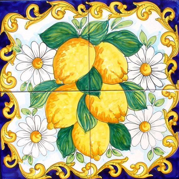 Hand Painted Tile Mural Backsplash, Kitchen Backsplash, Lemon and Daisy, Accent Tiles, Home Design, Decorative Backsplash, Home Decor #decorationentrance