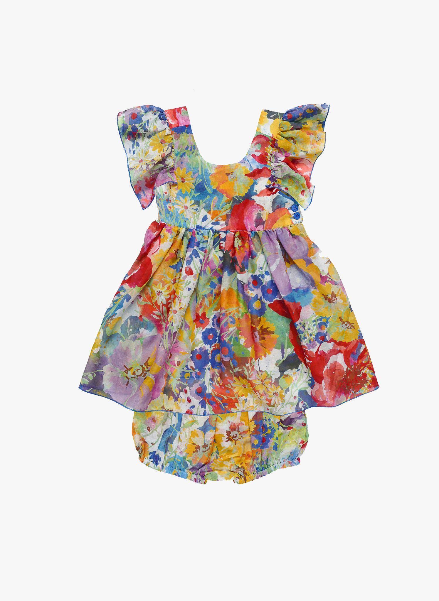 Stella McCartney Kids Chestnut Baby Girl Flutter Sleeve Floral Dress