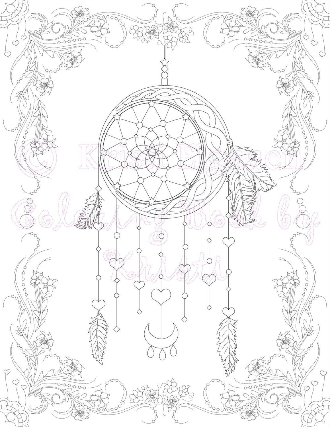 Little Witches and Wild Things, Adult Coloring Page