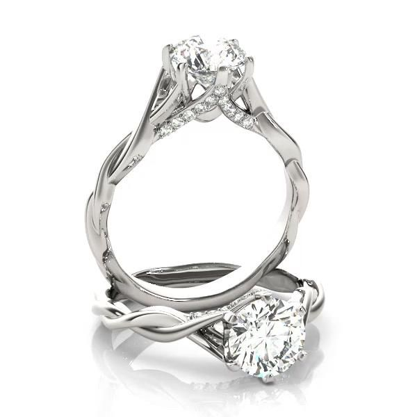 Diamond 6-Prong Twisted Engagement Ring Setting 14