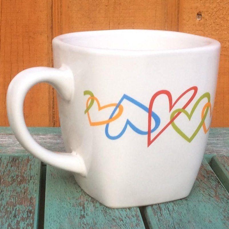 Large Square Rainbow Coffee Mug Rainbow Coffee Cup