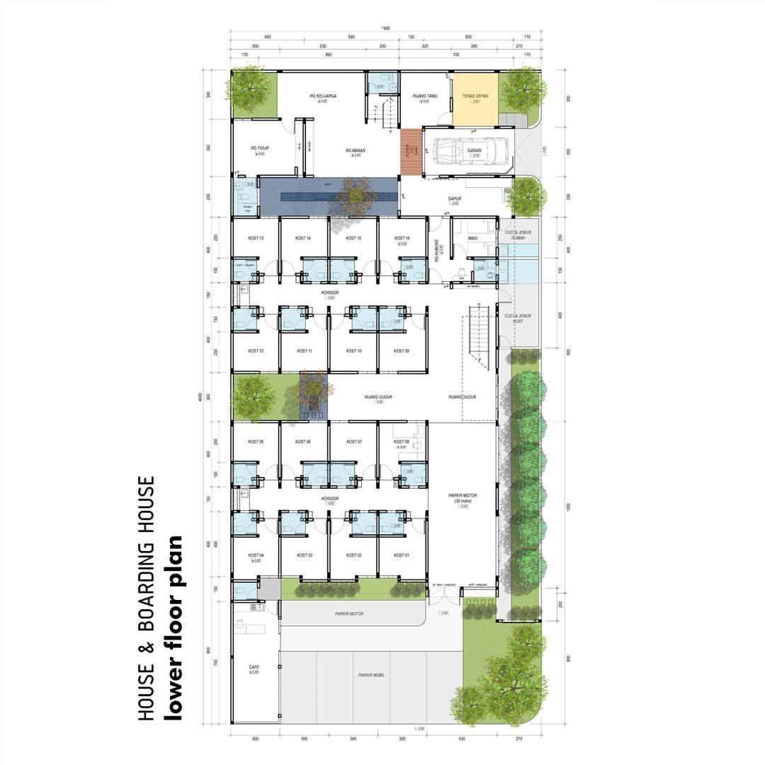 Rumah Tempat Kost Cafe Memiliki Tanah Dengan Ukuran Yang Luas Lokasi Stretegis Dan Multi Akses Tanah Hoek Pojok Mungkin Rumah Denah Rumah Desain