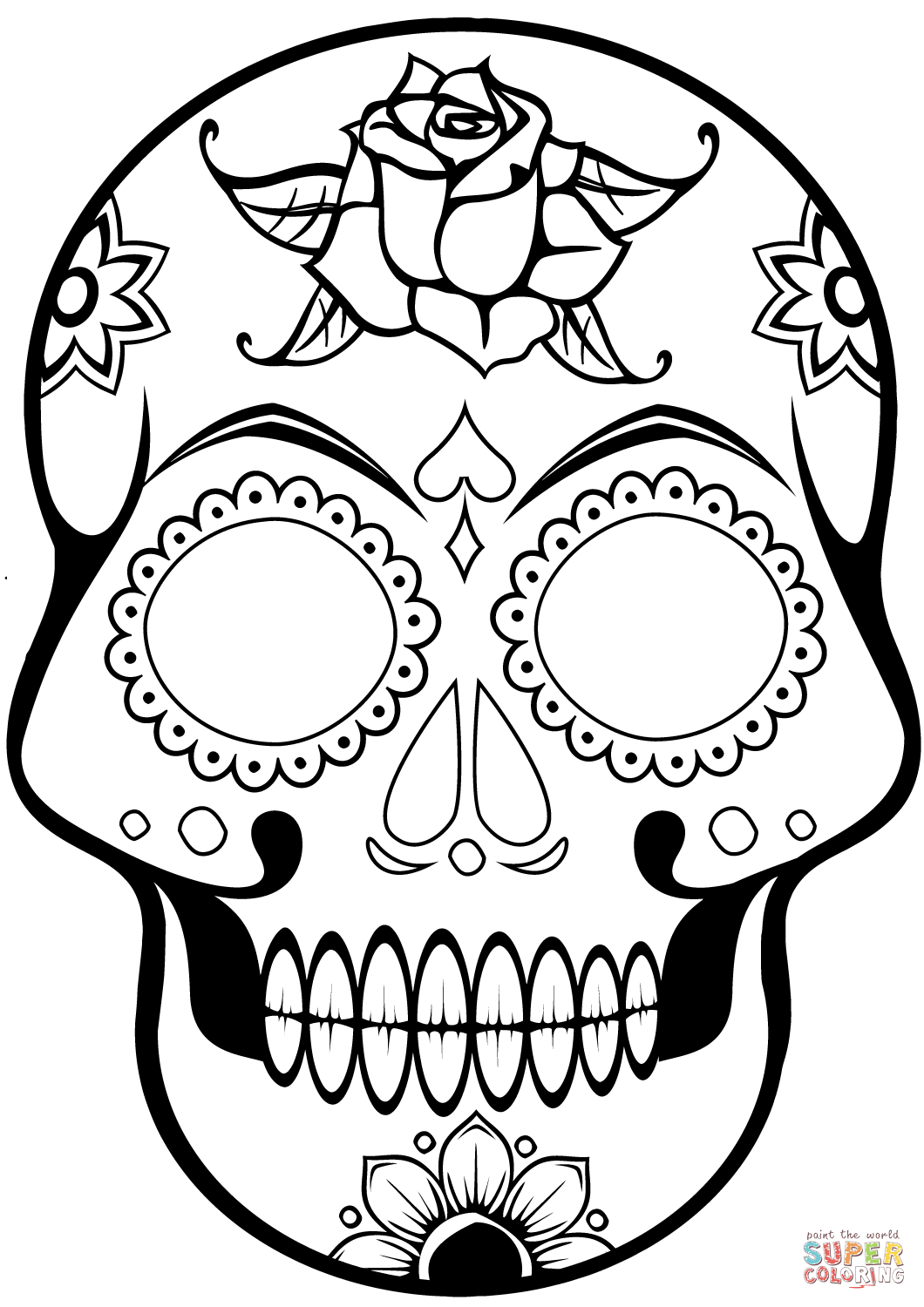 Simple Sugar Skull Coloring Pages Coloring Home | Skull ...