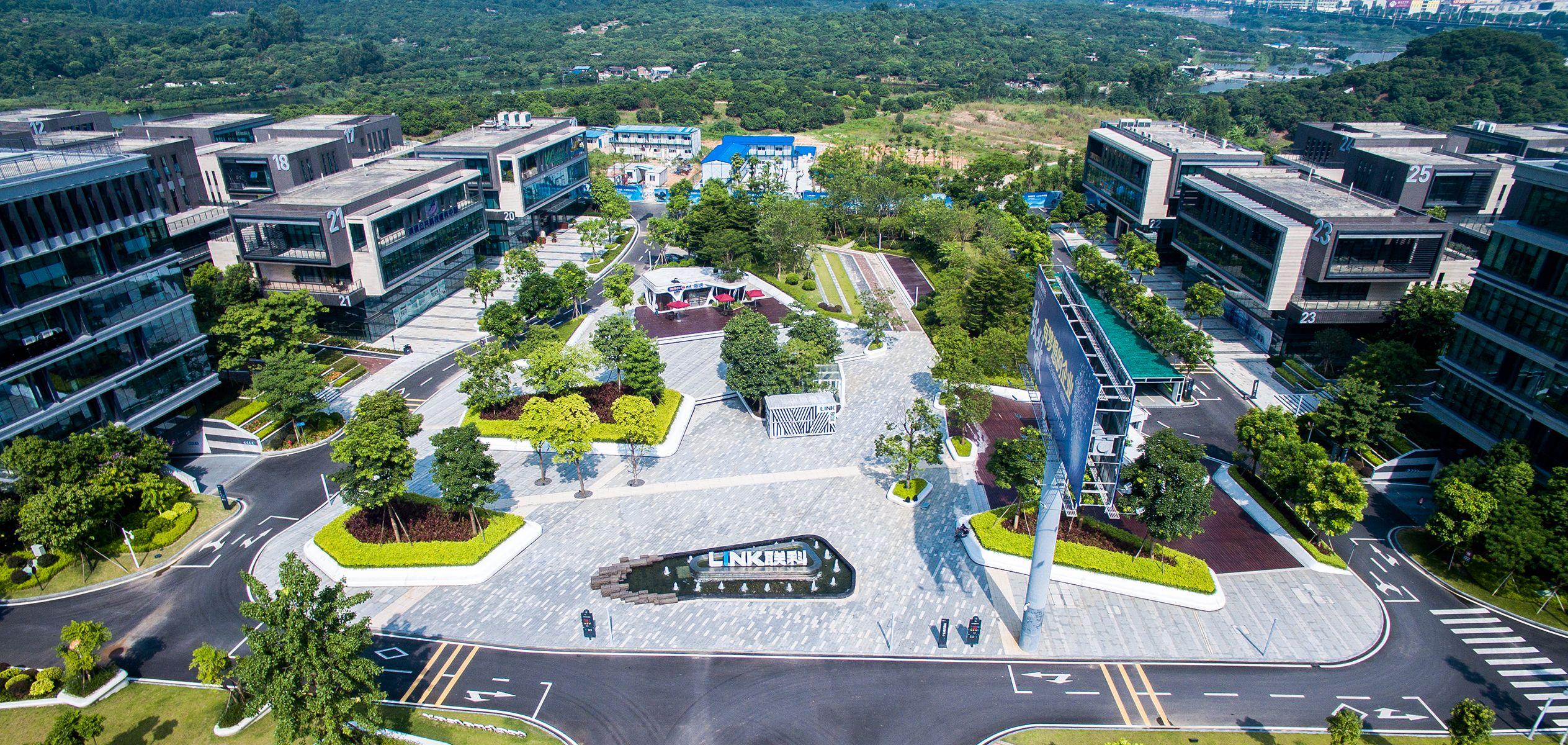 Link International Business Park Designed By Pleasanthouse In Dongguan China Park Landscape Parking Design Real Estates Design