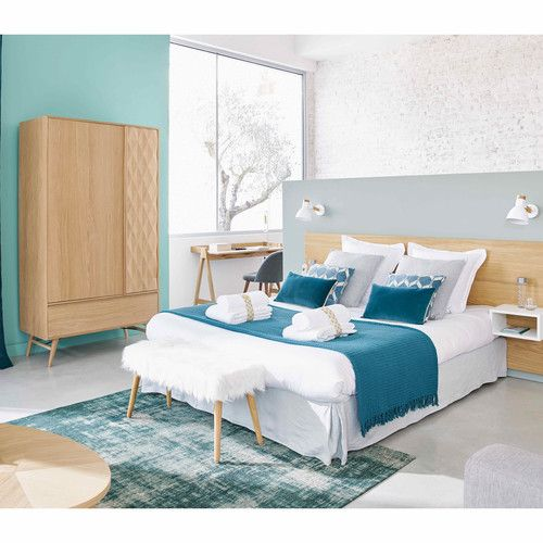 t te de lit 160 avec rangements en ch ne 160 cm ma chambre cosy parfaite scandinave. Black Bedroom Furniture Sets. Home Design Ideas