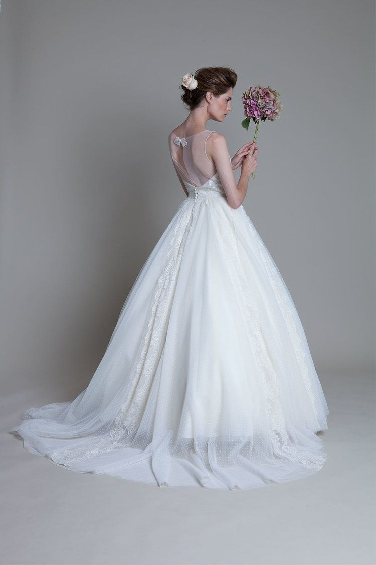 Back view of the Circus circle skirt with french lace detail bridal ...