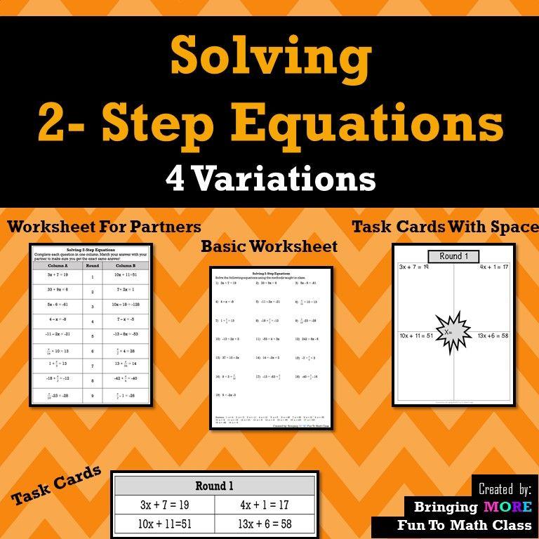 Solving 2step equations algebra worksheet algebra