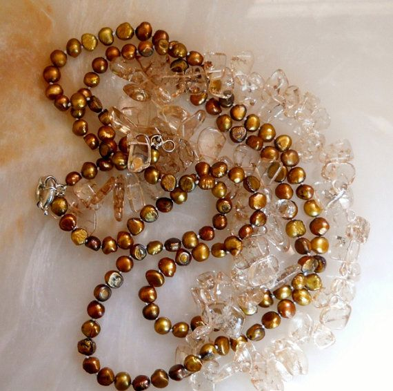 Necklace Rutilated Quartz & Fresh Water Pearl by LakeBreezes, $41.00