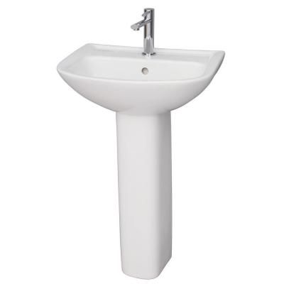 Barclay Products Lara 510 Pedestal Combo Bathroom Sink in White-3