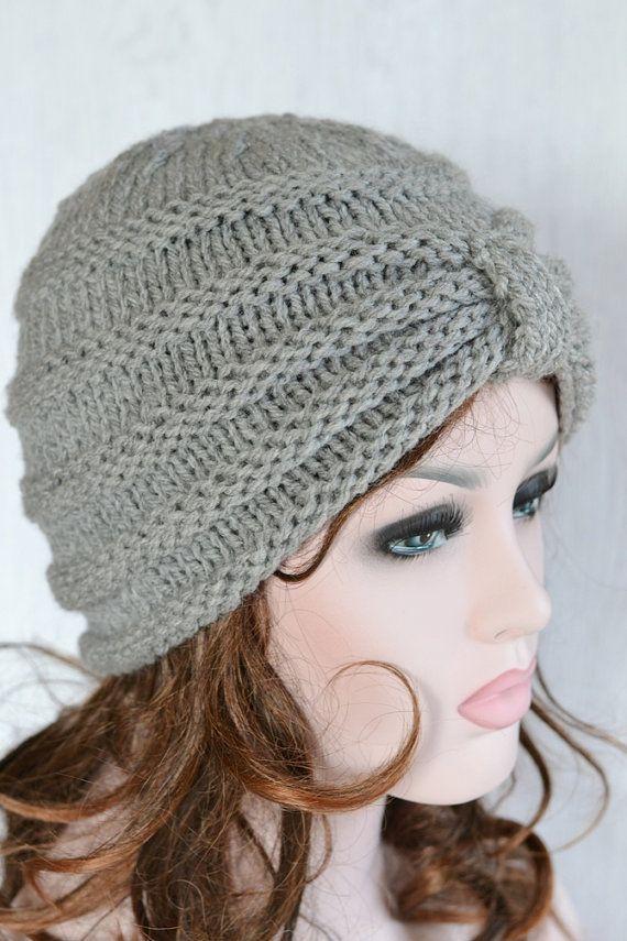 Gorro turbante gorro grueso punto gris Knit hat Reino  894443bf008