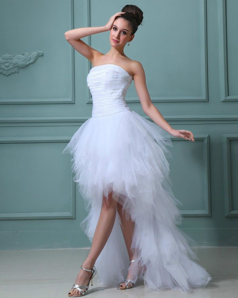Great Elegant Ruffles Yarn Strapless Short Bridal Gown Wedding Dress ...