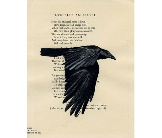 Raven - How Like an Angel -  Original Watercolor Painting  by Julia Raven - on Antique Book page - 6 1/2x8inches