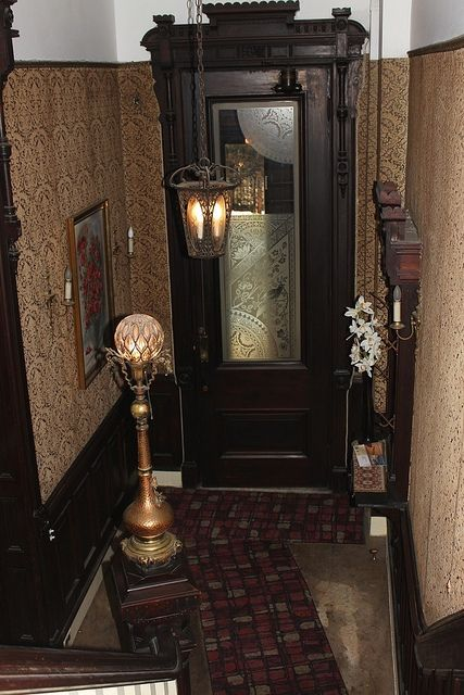 New York Brooklyn & Brooklyn Saint Johns Place Victorian vintage interior foyer door ...
