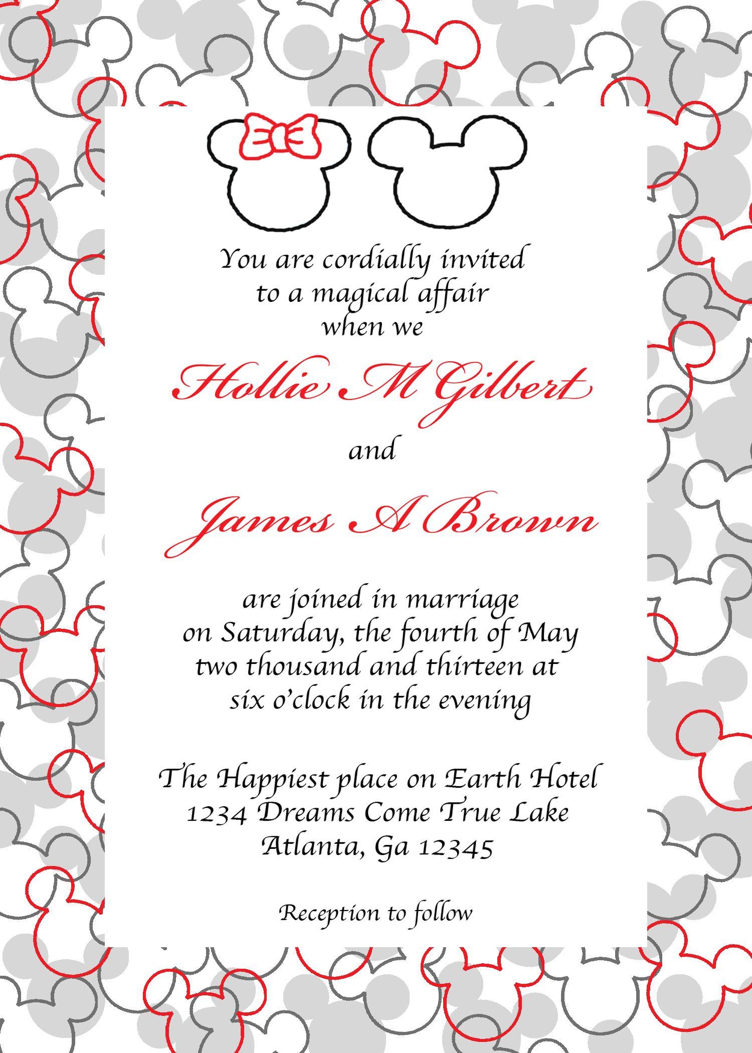 www.facebook.com/pixiedustinvitations Mickey and Minnie head wedding ...