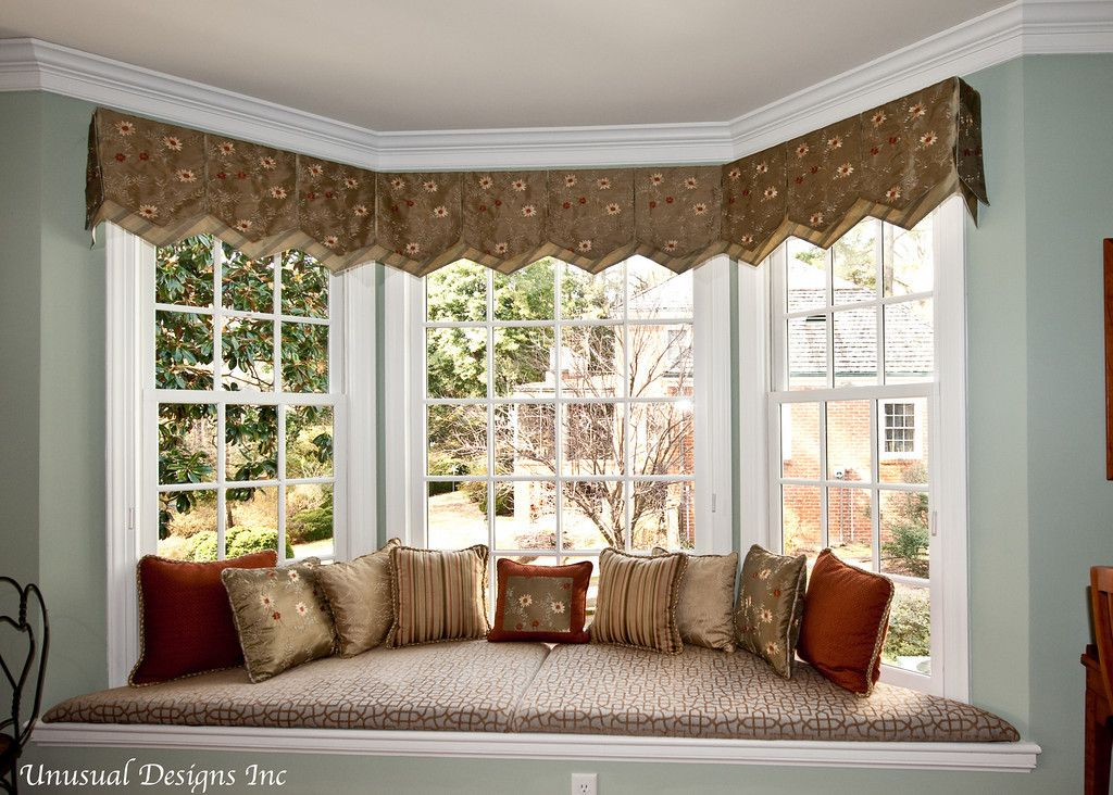Invert Pleated Valance With A Band Window Treatment.