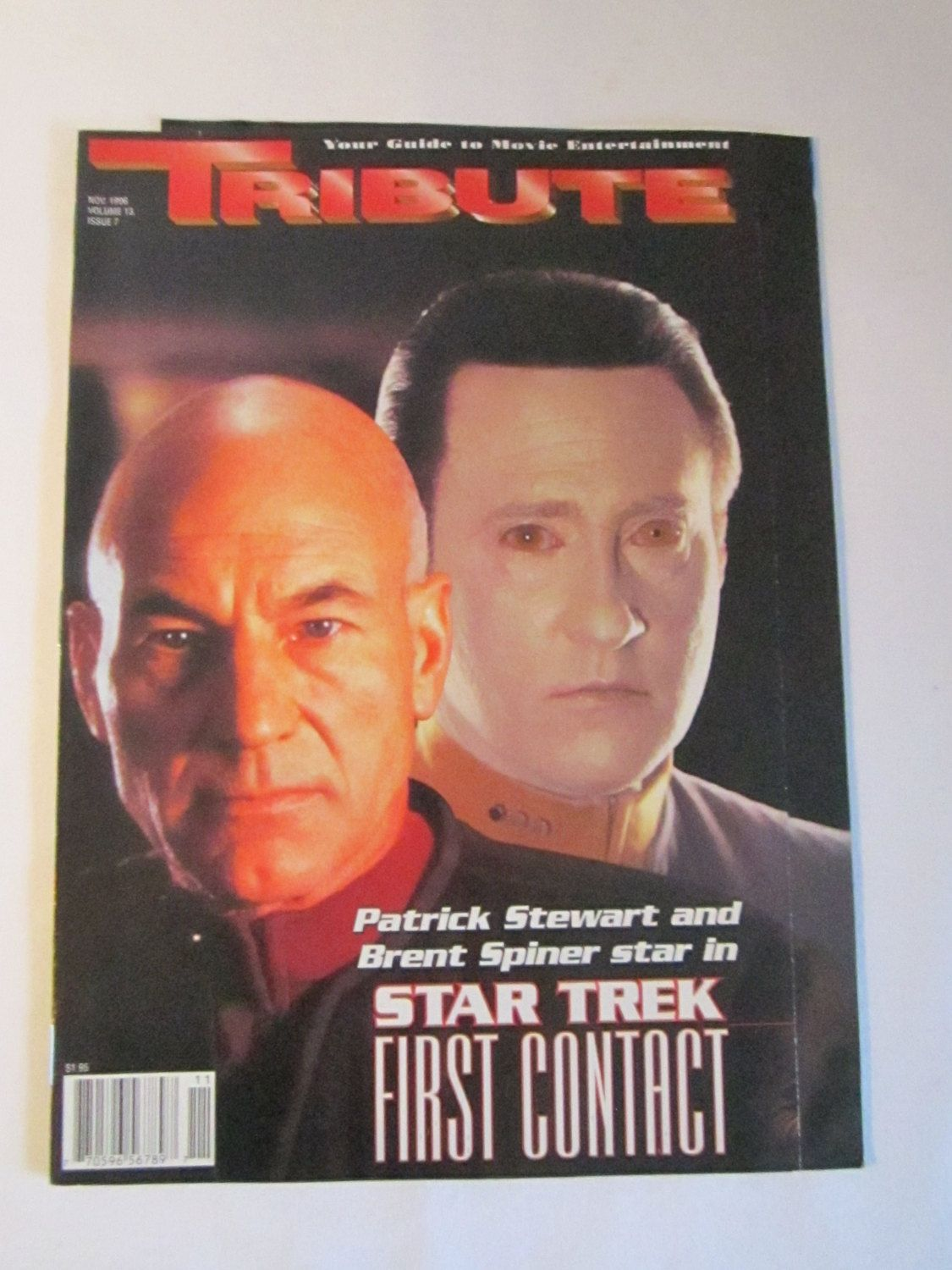 Vintage TRIBUTE magazine   Star Trek first contact   with Patrick Stewart and Brent Spinner 1996 by TashasVintages on Etsy