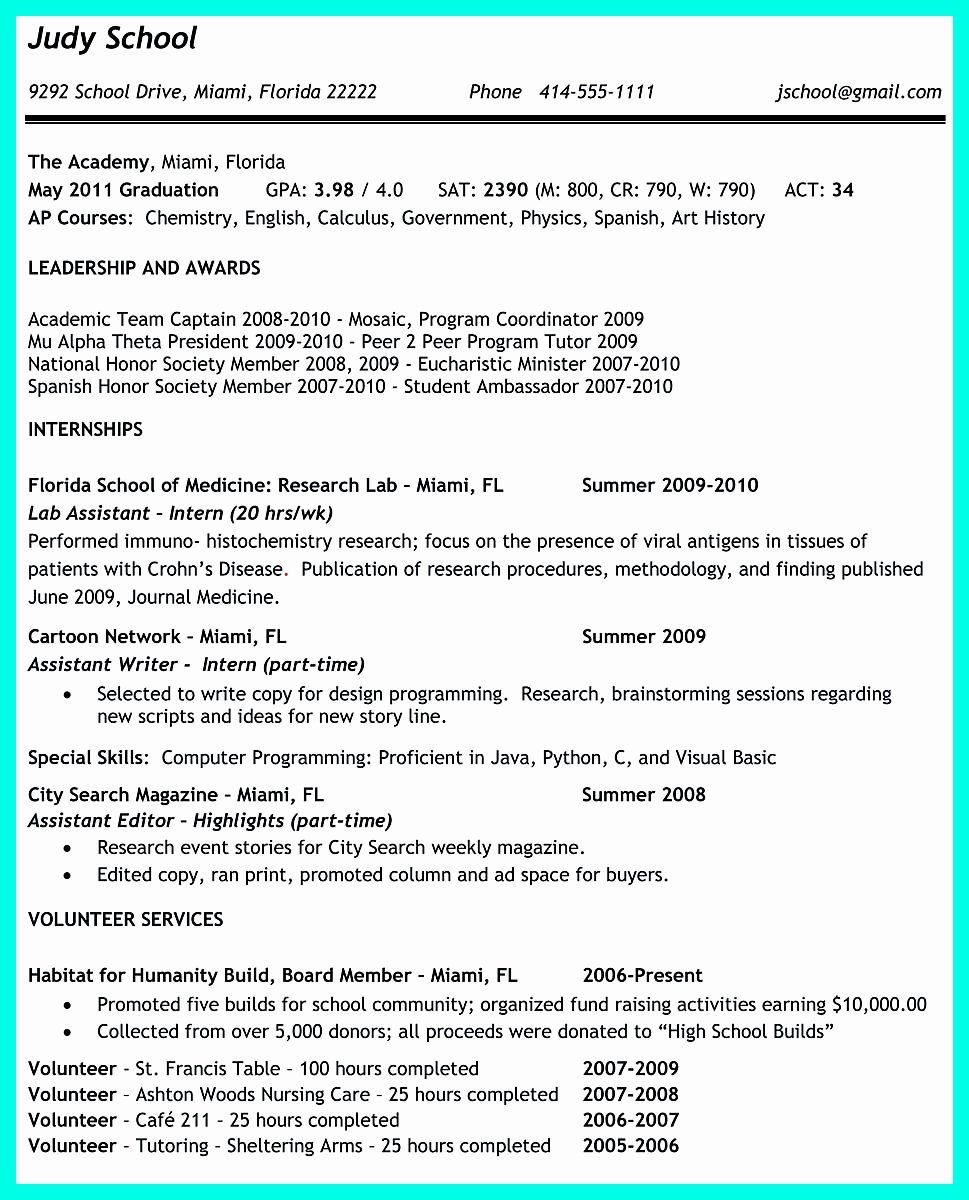 College Admission Resume Template Beautiful the Perfect