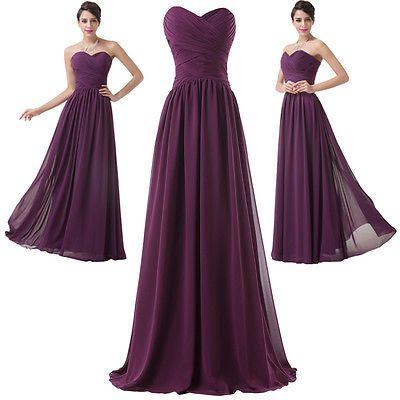Details zu Lila Lang Chiffon Brautjungfernkleid Abendkleid Ballkleid ...