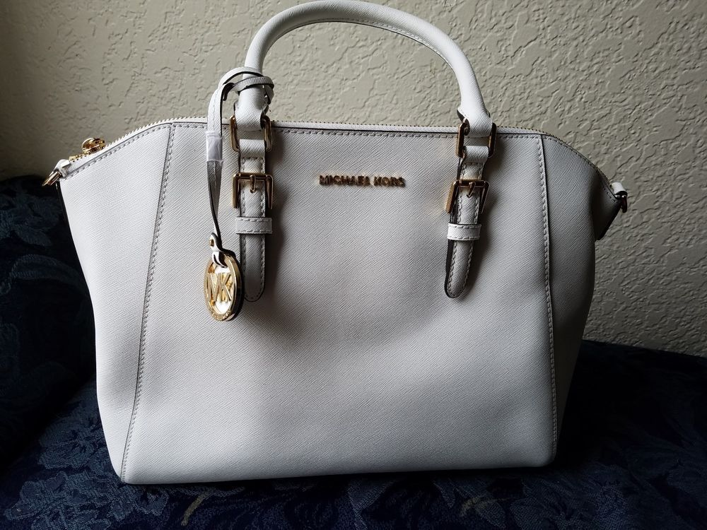 2916532a732d Michael Kors Bag Ciara LG TZ Satchel Saffiano Leather Optic White #fashion  #clothing #shoes #accessories #womensbagshandbags ...