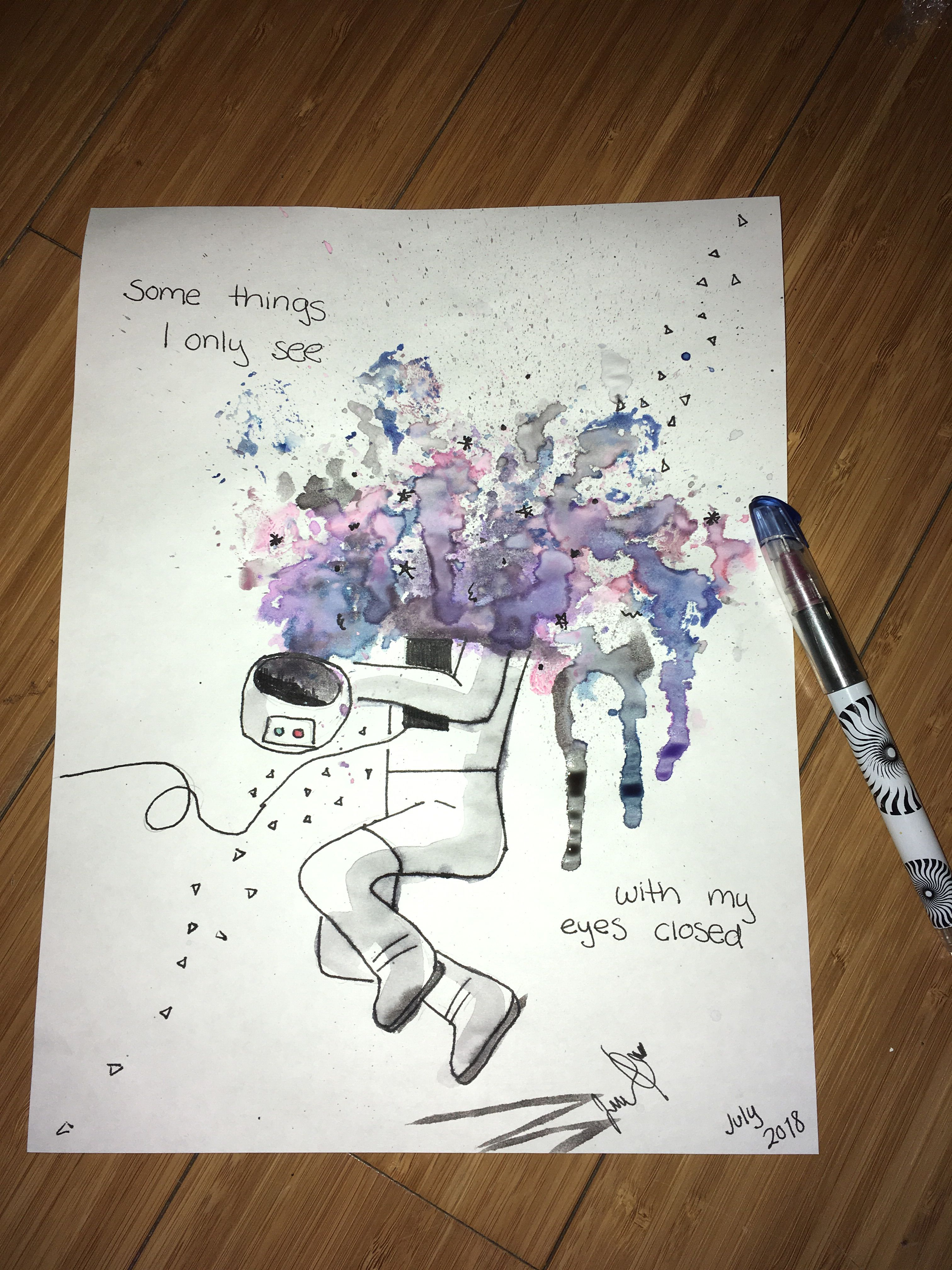 Art Journaling Watercolor Quote Painting Tumblr Galaxy Drawing Cute Astronaut Universe