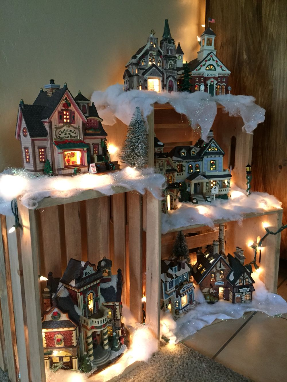 My 2015 Village Display Made Using Crates Christmas Lights And Snow Christmas Village Display Indoor Christmas Decorations Christmas Apartment
