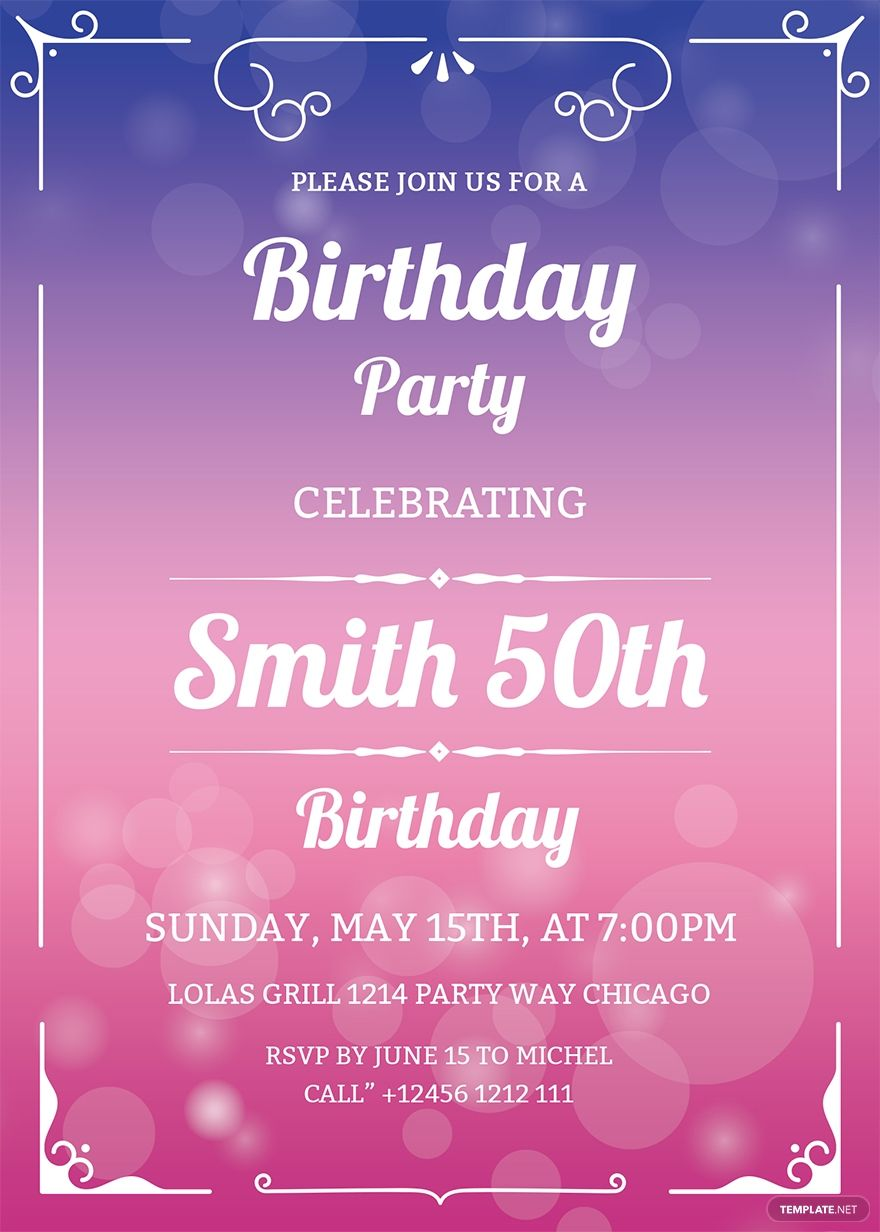 Free 50th Birthday Invitation Template Word Doc Psd Apple Mac Pages Illustrator Publisher Outlook 50th Birthday Invitations Party Invite Template 50th Birthday Party Invitations