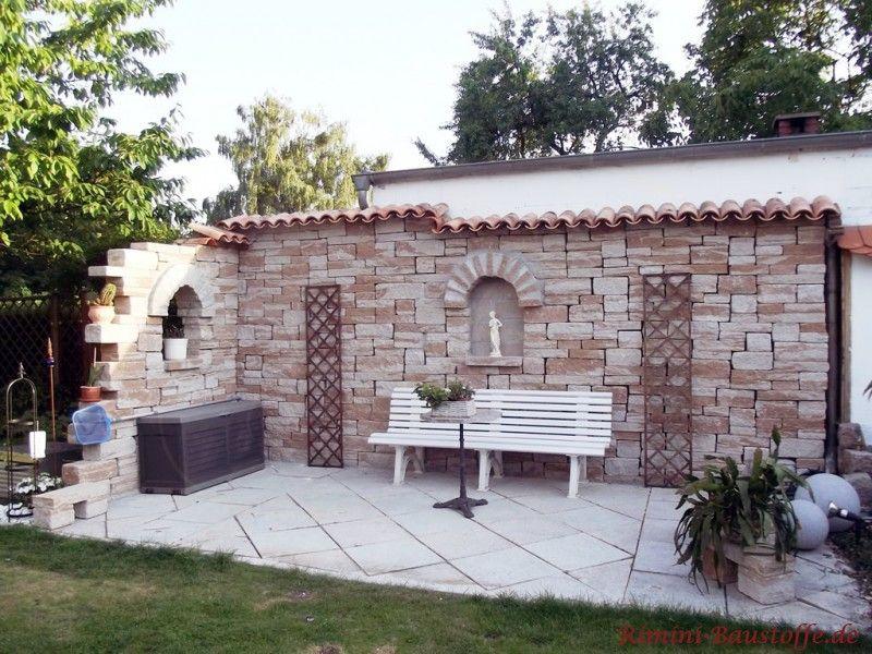 Mediterrane Gartenmauer teja curva farbe viellja castilla зелена зона