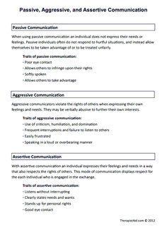 Passive, Aggressive, and Assertive Communication (Worksheet ...