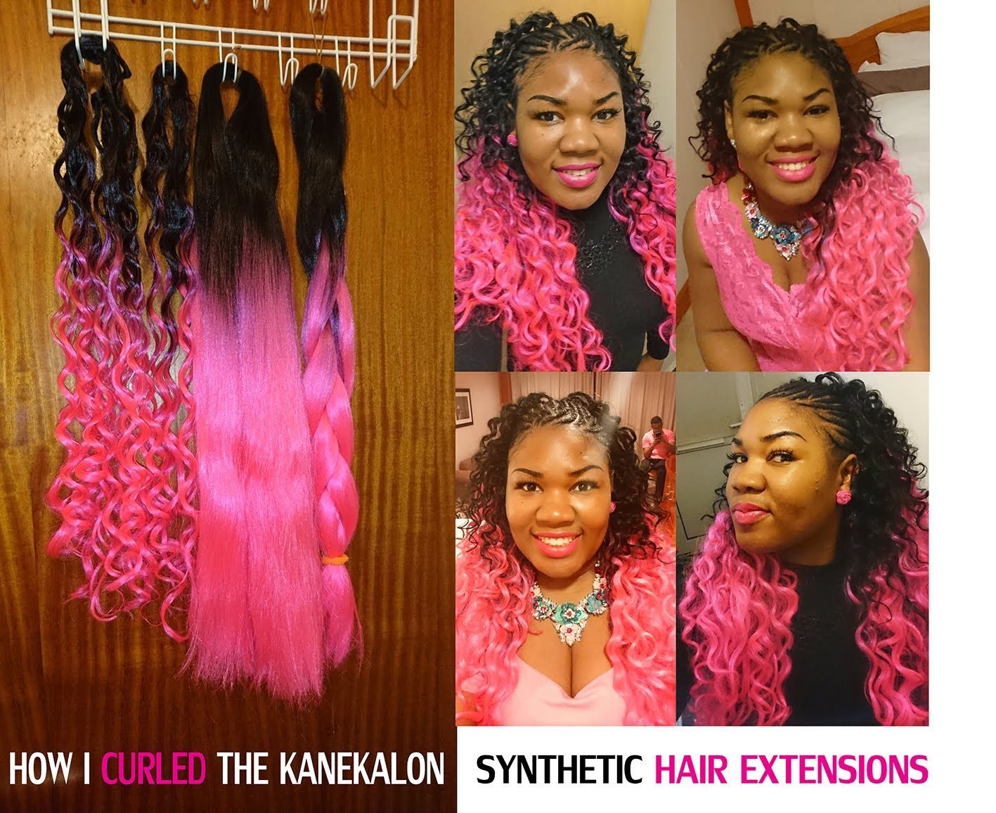 How to CURL SYNTHETIC HAIR with FLEXI RODS FOAM ROLLERS HOT PINK ...