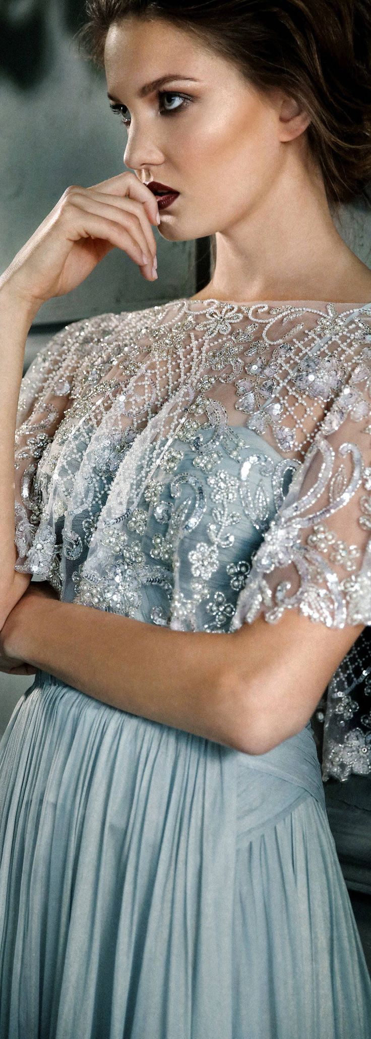 Beaded crystal pearl silk cape veil train shoulder cover up perfect