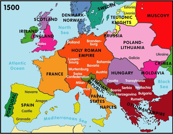 Map of Europe 1450 CityStates Dynasties 14501550 classical