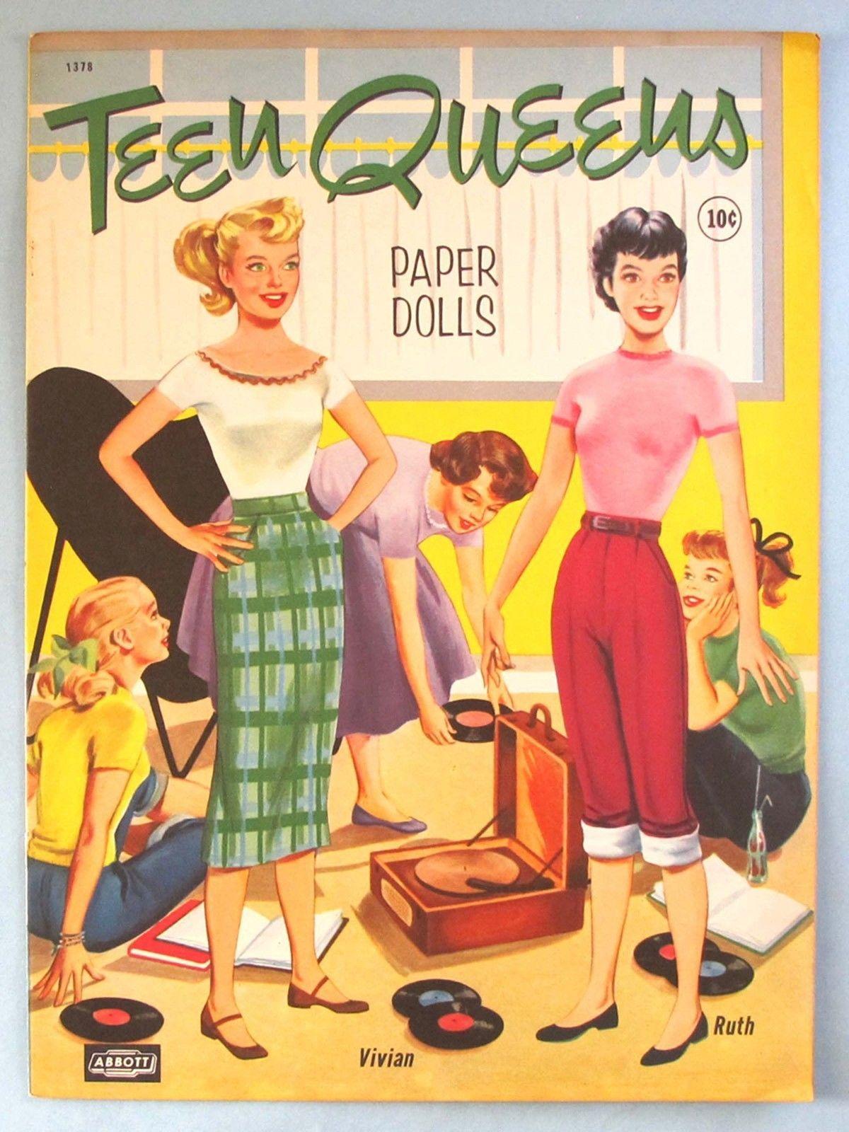 VINTAGE UNCUT 1960 TEEN TIME KIM /& KAY PAPER DOLLS~#1 REPRODUCTION~NOSTALGIC