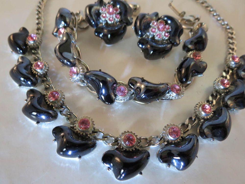 Superb Black Glass Cabochon & Pink Rhinestone Parure Necklace Bracelet & Earring #Statement