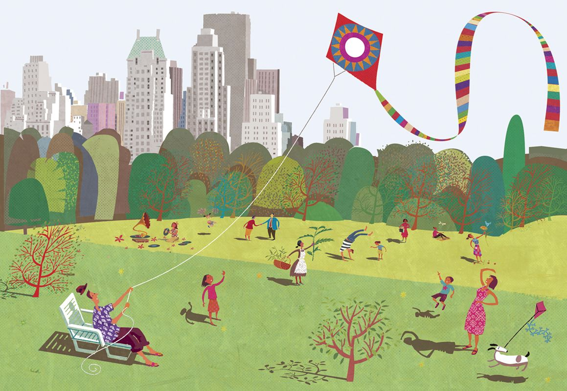 #paulboston #meiklejohn #illustration #digital #stylised #character #park #kite #park #outdoors