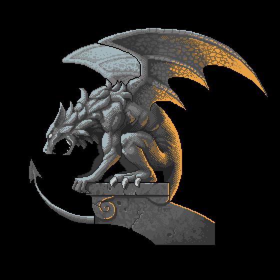 Pixel art gargoyle by foxinsoxx
