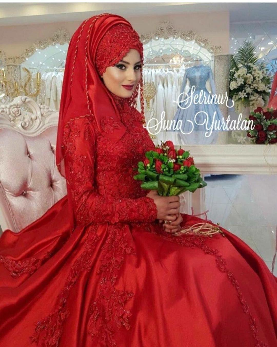 Tesettur Kirmizi Nisanlik Modelleri 2018 Kirmizi Nisanlik Modellerine Baktigimizda Ozellikle Kabarik Etekler Muslim Wedding Gown Hijab Wedding Dresses Dresses