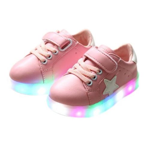 Kinder Stern Schuhe Mit LED Sohle Rosa